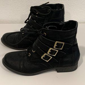 Report Black Ankle Boots Side Zip Lace Up Buckles